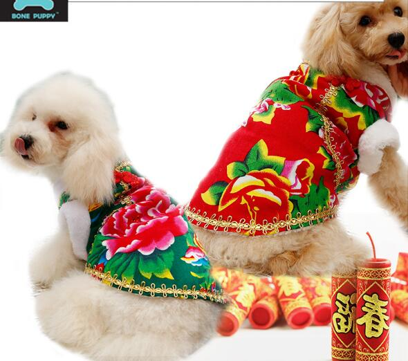 New design dogs cats New Years costume doggy winter warm coats clothes puppy outwear pet dog cat jackets pets suit 1pcs XS-L