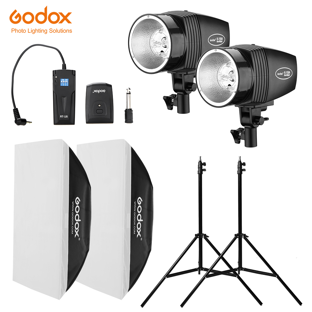 Free DHL Godox 300Ws 2x 150Ws Strobe Studio Flash Light Kit With RT-16 Trigger & 2x 50x70cm Softbox & 2x 190cm Light Stand
