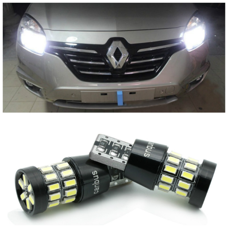 2x LED Canbus <font><b>T10</b></font> W5W <font><b>3014</b></font> <font><b>30SMD</b></font> Car LED Light Lamp Bulb For Renault Megane 2 3 Duster Logan Clio 4 3 Laguna 2 Sandero Scenic 2 image