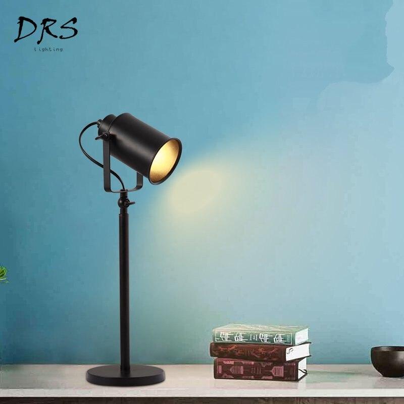 Современные Простые креативные настольные лампы железные черные настольные лампы Гостиная Спальня Обучающие светодио дный фонари домашние осветительное оборудование - 3