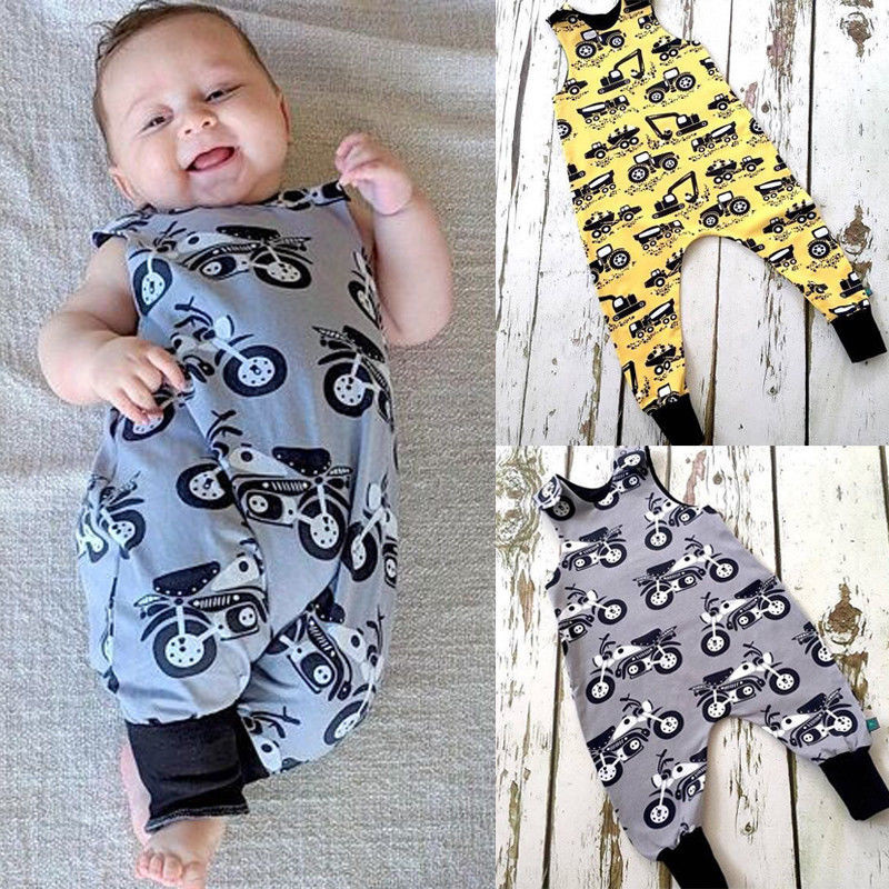 Top Baby Boy Kids Newborn Infant Romper Jumpsuit Cotton Clothes Transportation Motorcycle Excavator Outfits одежда на маленьких мальчиков