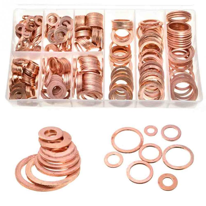 400Pcs Copper Washers M5-M14 Copper Washer Gasket Set Flat Ring Seal Assortment Kit with Box Sump Plug Assorted Washer Set lacywear dg 45 app