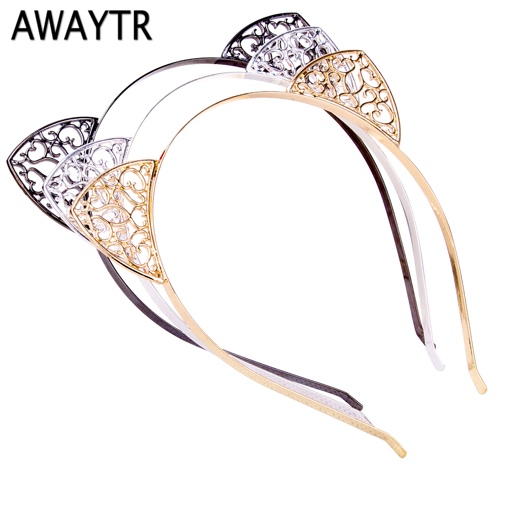 AWAYTR Cute Animal Ears Hair Hoop for Women Girls Hollow Cat Ear Headband Halloween Headwear Party Metal Hair Accessories women headwear 2017 retro hair claw cute hair clip for girls show room vitnage hair accessories for women