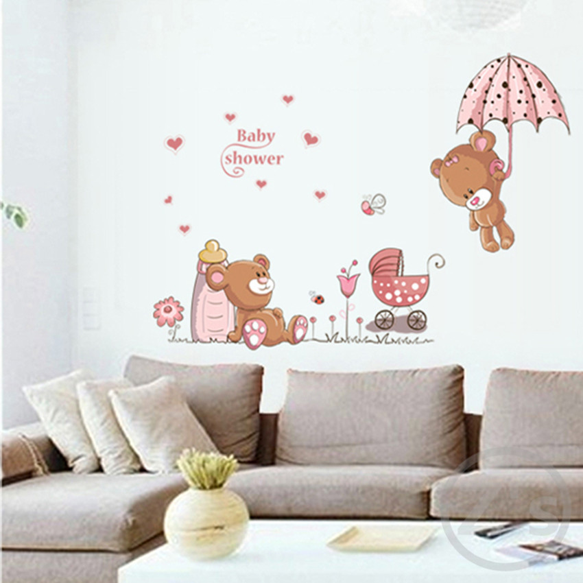 large 50cm 70cm bear wall stickers children room home decor baby shower adhesive for kids room ay7194
