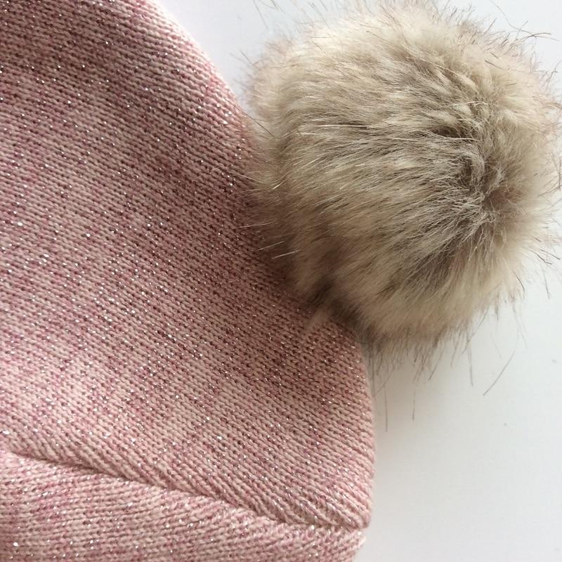 Partisig merk babymuts haak dubbele pompom hoed voor meisjes gebreide - Babykleding - Foto 3