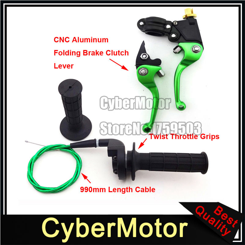 Green Folding Brake Clutch Lever Throttle Handle Grips Cable For Chinese 50cc 90cc 110cc 125cc 140cc 150cc 160cc Pit Dirt Bike