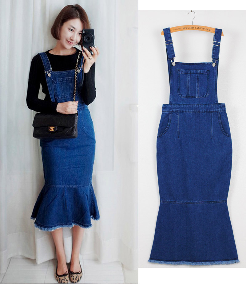 Women sexy  Adjustable Shoulder Straps Denim Overall Slim Fit Dress Blue denim overall dress Discount