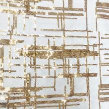 2style Gold Transparent crystal  glitter plaid striped lace fabric dress diy textiles wedding cloth mesh patch C584