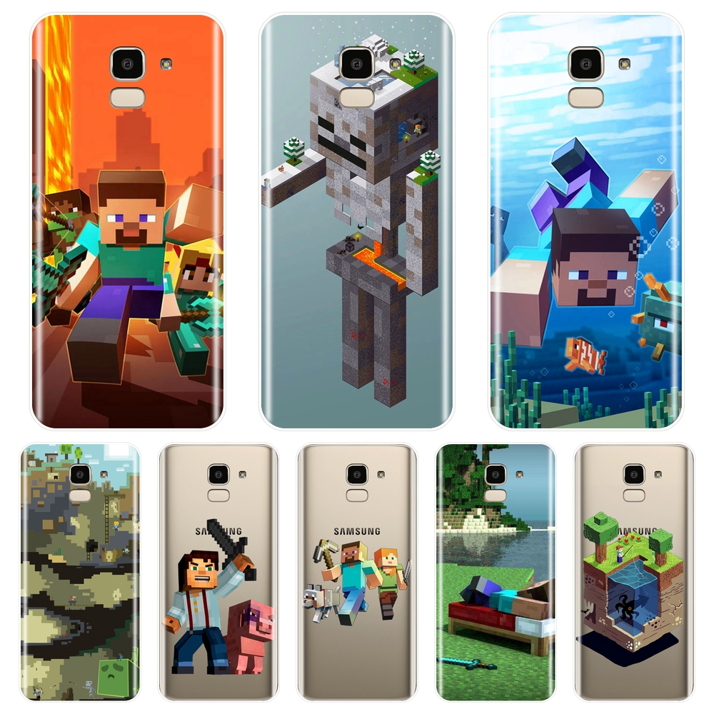 For Samsung Galaxy J2 J5 J7 Prime J3 J5 J7 2015 2016 2017 J4 J6 J8 Plus 2018 Phone Case Silicone Soft Minecraft Game Back Cover image