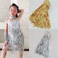 Gold Silver Rose pink Laser Color Sequin Tassel Fringe Trim for Latin Samba Dress sew on 15cm 20cm 30cm 40cm wide you pick