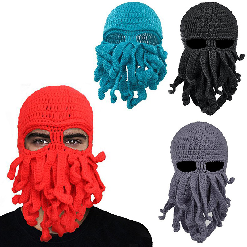 New Pure Hand-woven Octopus Wool Hat Halloween Party Funny Toys