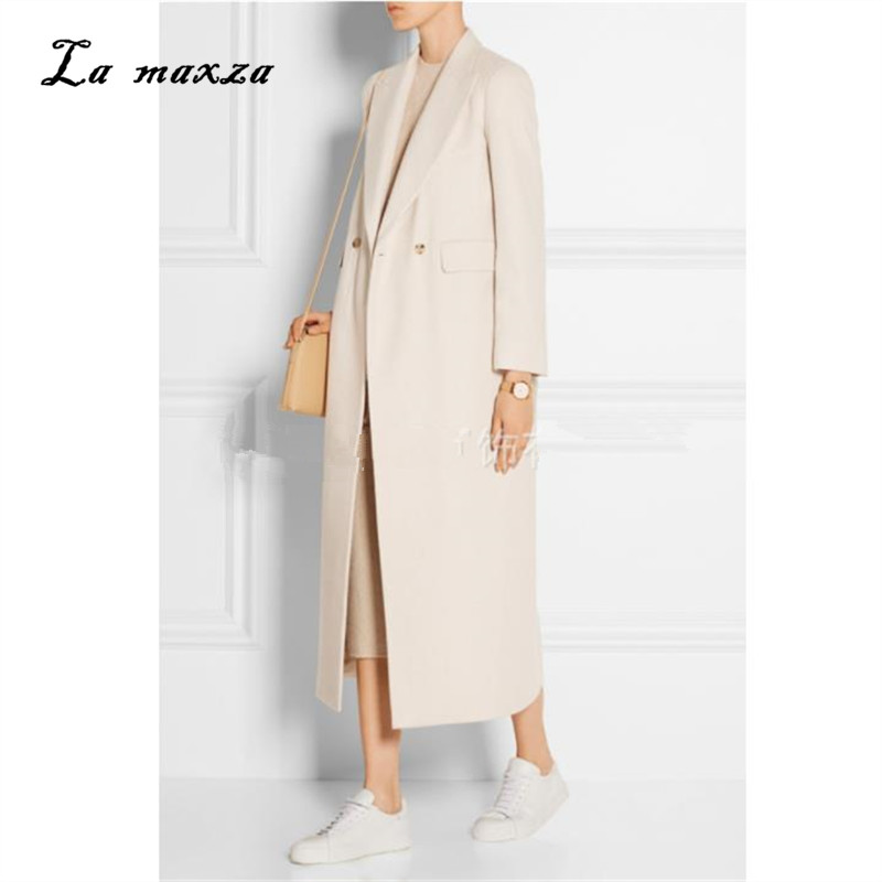 Women Winter Coat Wool 2018 Vintage Elegant Clothes OL Fashion Outwear Long Coat White