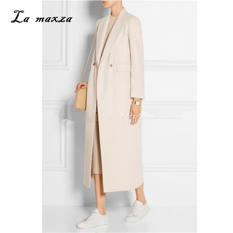 Women Winter Coat Wool 2020 Vintage Elegant Clothes OL Fashion Outwear Long Coat White