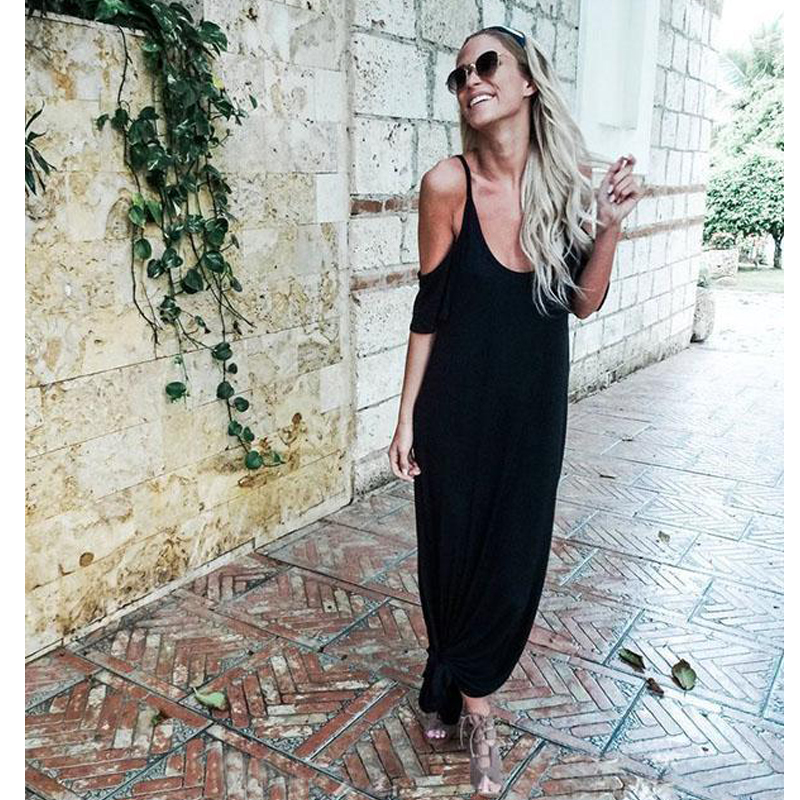 Sexy Boho Long Maxi <font><b>Dress</b></font> Women 2018 Summer Cold Shoulder Casual Loose Spaghetti Strap <font><b>Dress</b></font> Beach Slit <font><b>Dress</b></font> Vestidos image