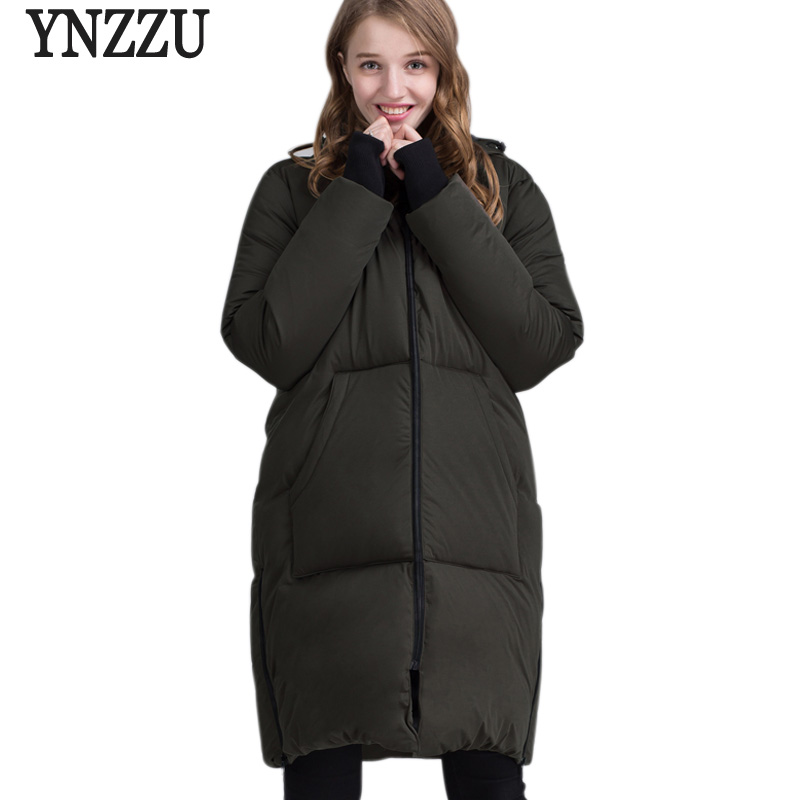 2017 New Winter Collection Women Down Jacket Fashion Long Style 90% White Duck Down Female Outwears Hooded Plus Size AO202