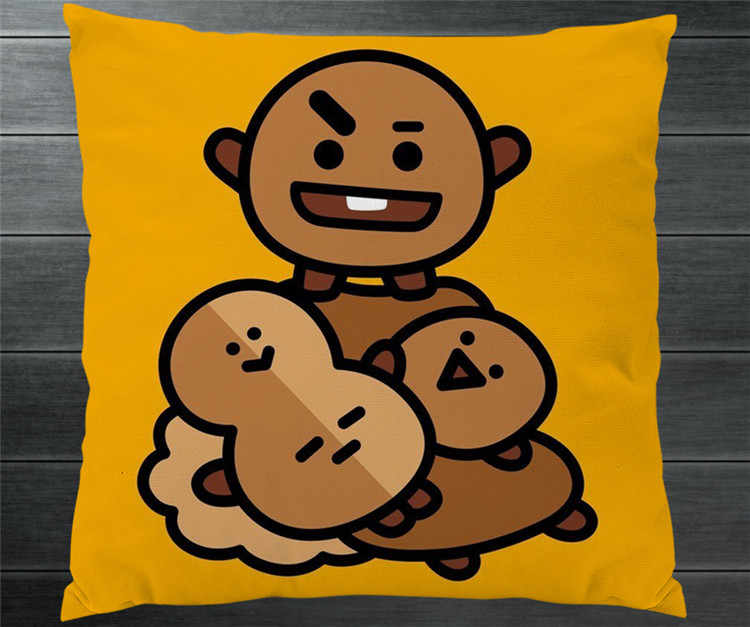 4226bfa53967 ... Kpop BTS BT21 TATA SHOOKY RJ KOYA CHIMMY COOKY MANG VAN Fanart Cute Pillowcase  Pillow Case