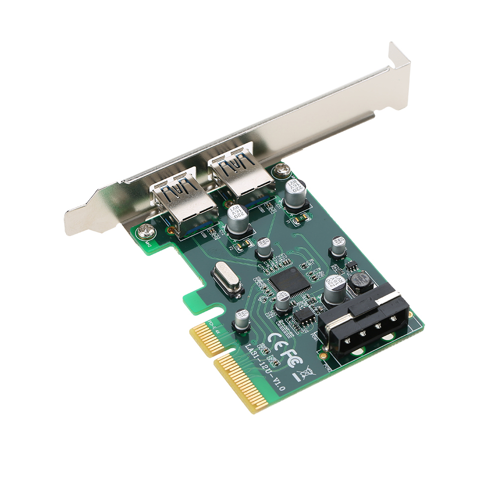 PCI-E zu 2-Port USB3.1 Typ A PCI Express Erweiterungskarte USB 3.1 Hub Controller Adapter Superspeed 10 Gbps Big 4Pin Power
