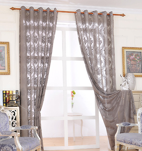 The new paragraph feather jacquard curtain fabric screens translucent hollow breathable bedroom living room curtains