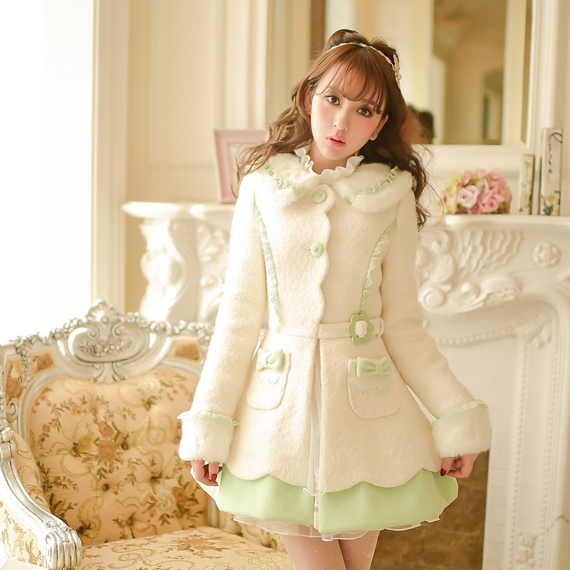 Princess sweet white woolen coat Candy rain bow lace decoration pocket Single breasted belt Lapel Japanese design C16CD5987
