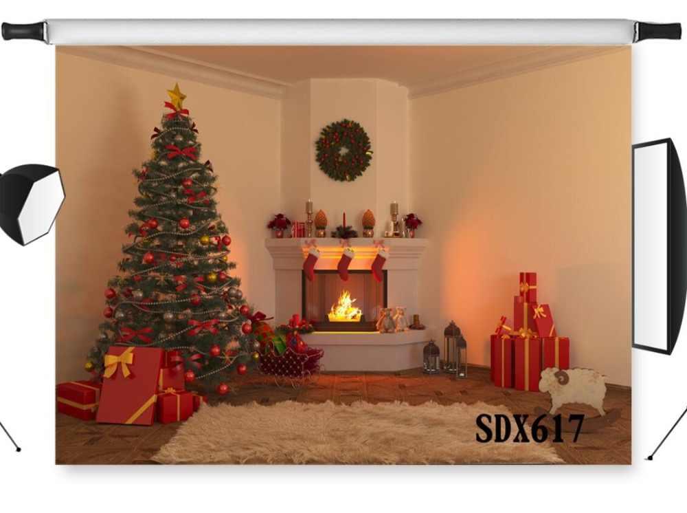 LB كرات عيد الميلاد على شجرة و إكليل الفينيل التصوير خلفية الدعامة استوديو صور خلفية هدايا عيد الميلاد الموقد و الجوارب ديكور الحفلات