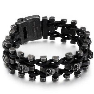 Image 2 - Retro Schedel Man Armband Mannelijke Hiphop Rock Heren Lederen Wrap Armbanden & Bangles Zware Effen Rvs Biker Sieraden Mannen
