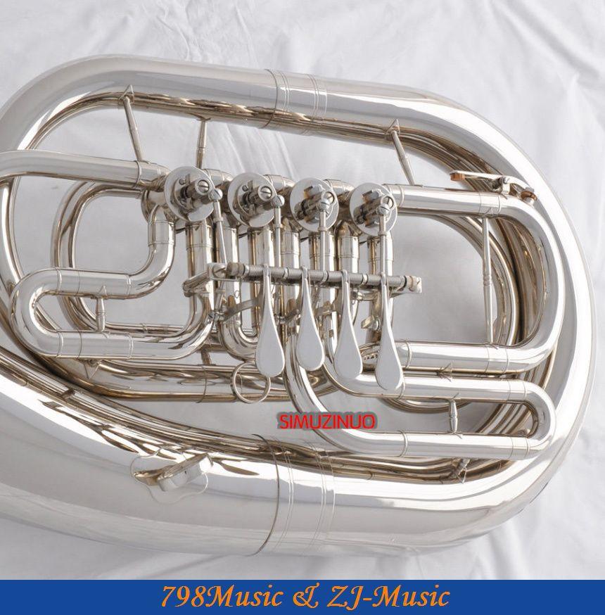Профессиональная Новая Серебристая никелированная Bb euphonium 4 вращательные вентили с роговым чехлом