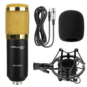 Image 5 - Felyby BM 800 conjunto de microfone condensador profissional para gravação de computador com potência fantasma e multi função placa de som