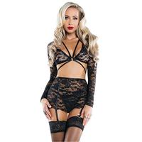 Lace Long Sleeve Crop Top Mini Skirt Women Sexy Lingerie Set Hot Christmas Night Babydoll Erotic