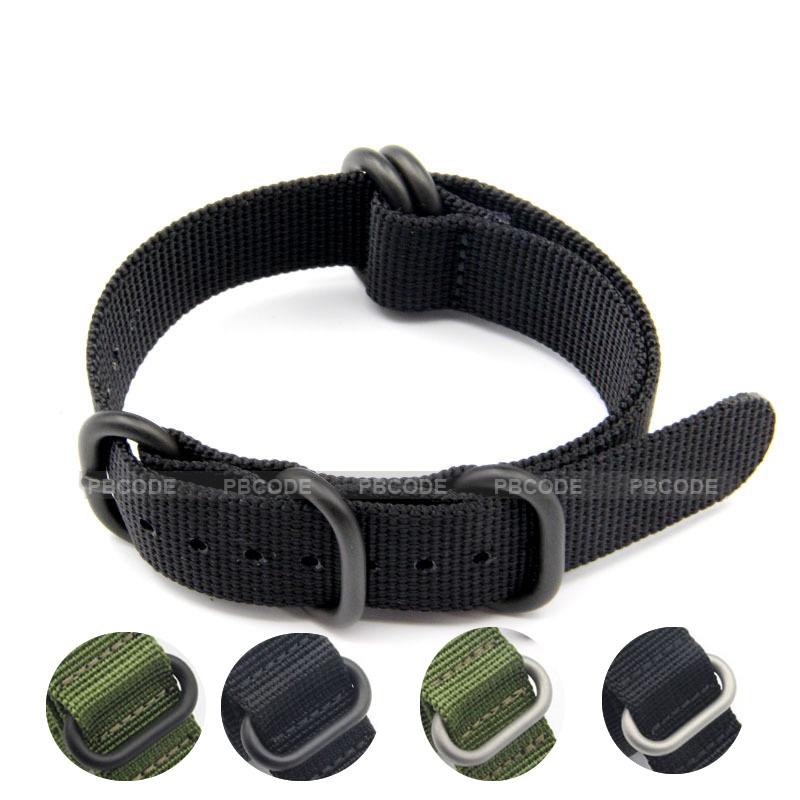 Prix pour Bracelet 22mm 24mm Noir Armée Vert ZULU L'otan Nylon Toile Bracelet Noir Argent Boucle 18/19/20/21/22/23/24mm