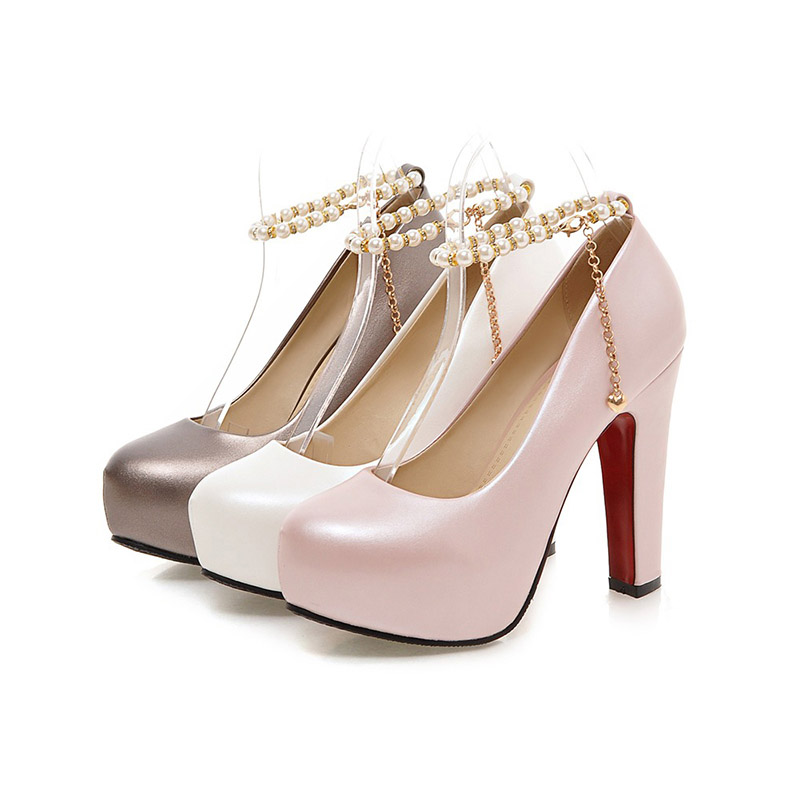 Chainingyee party style round head pumps fashion beading chain belt buckle  glitter waterproof high heel thick women s shoes-in Women s Pumps from Shoes  on ... 985d2ac2499f
