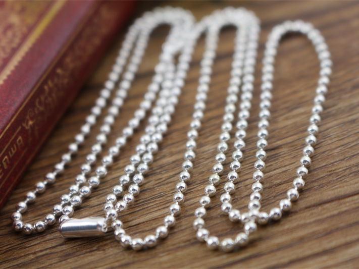 5pcs 2.4mm Silver Plated Ball Beads Chain Necklace Bead Connector 65cm(25.5 inch) (Z1-06) 5pcs 2 4mm silver plated ball beads chain necklace bead connector 65cm 25 5 inch z1 06