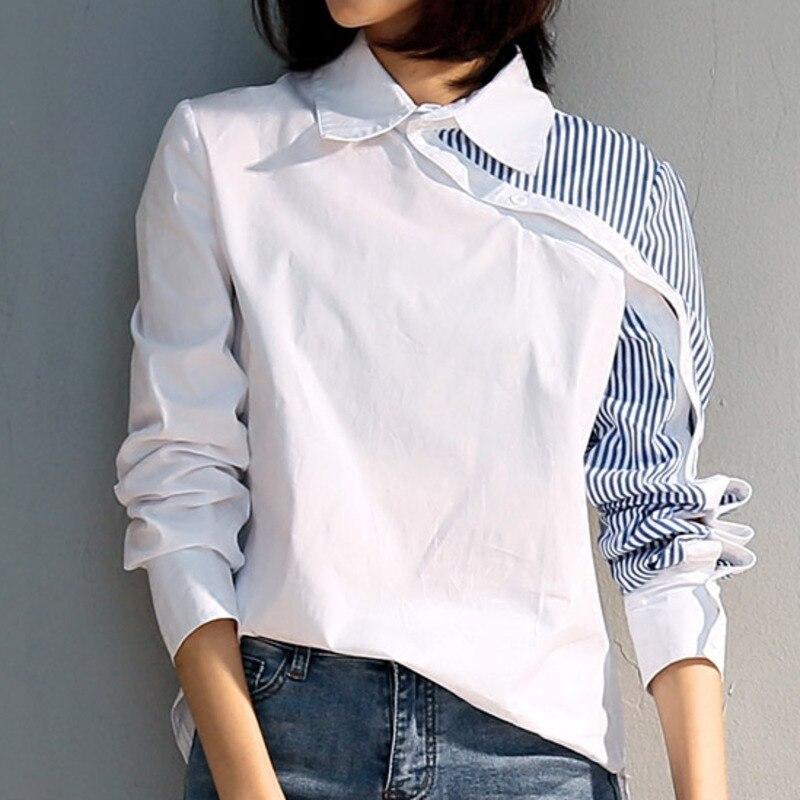 53f6330c3 LANMREM Moda Emendado Stripe Turn-down Collar Luva Cheia Blusa  Personalidade Assimétrico Mulheres verão Camisa Roupas BC845
