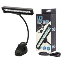 9 LED Music Stand Light Clip On Reading Lamp With Flexible Neck Battery Operated 2 Brightness