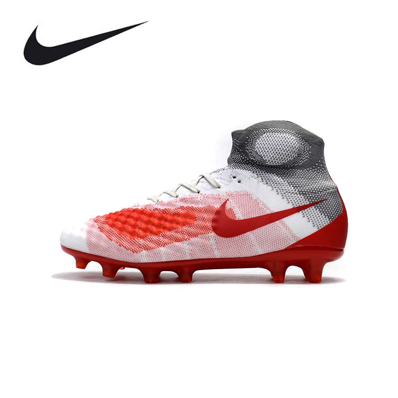 new product b4206 e35f9 Nike Magista obra II FG Sneakers Soccer Shoes White Red Outdoor Lawn High  Quality Men Football Shoes 844595-414 39-45