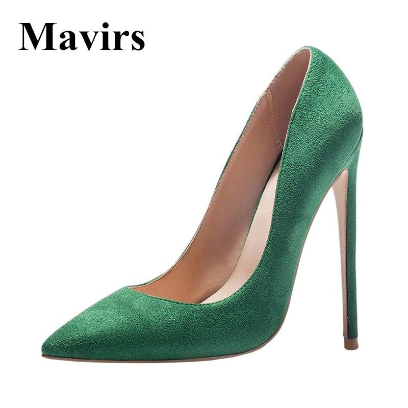 MAVIRS Marque Femmes Pompes 2018 Printemps 12 CM Extreme Talons Bout pointu Stiletto Noir Vert Sapato Feminino Chaussures NOUS Taille 5 ~ 15