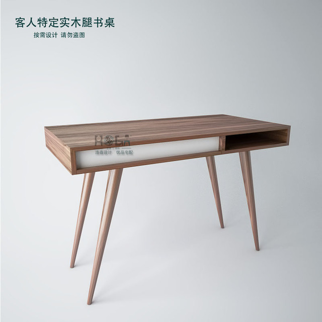 Scandinavian Modern Style Furniture Designer Desk Walnut Wood Veneer Desk  Minimalist Square Feet Of New