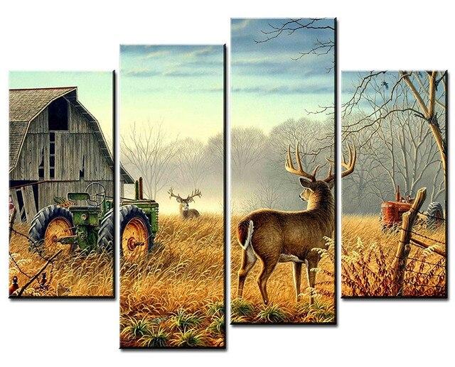 Nature Trees Fences Birds Mist Deer Barn Farm 4 Panels Wall Art Canvas Paintings Wall Decorations Giclee Wall Artwork Home Decor