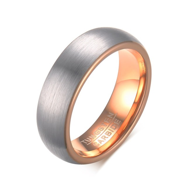 Very best Free Engraving 6mm Tungsten Carbide Silver & Rose Gold Brushed  ZF13
