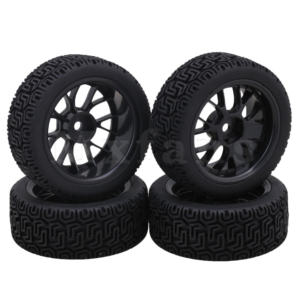 Mxfans Black Plastic Y-Type Wheel Rims + L Pattern Rubber Tyres for RC 1:10 On Road Racing Car Pack of 4 mxfans rc 1 10 2 2 crawler car inflatable tires black alloy beadlock pack of 4