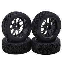 Mxfans Black Plastic Y Type Wheel Rims L Pattern Rubber Tyres for RC 1 10 On