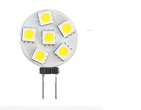 10pcs/lot SMD <font><b>5050</b></font> G4 6 leds LED Light Round Board Bulb <font><b>1W</b></font> 12V DC White and Warm White Free Shipping image