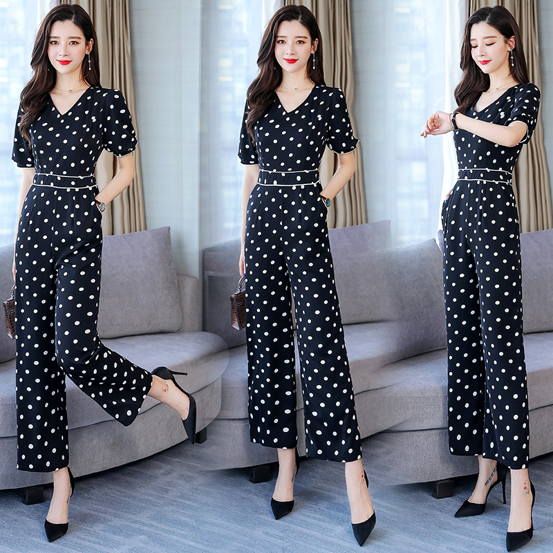 Dot Floral Print Rompers Womens Jumpsuit Combinaison Femme Goddess Overalls Female Summer Clothes For Women Macacao Feminino