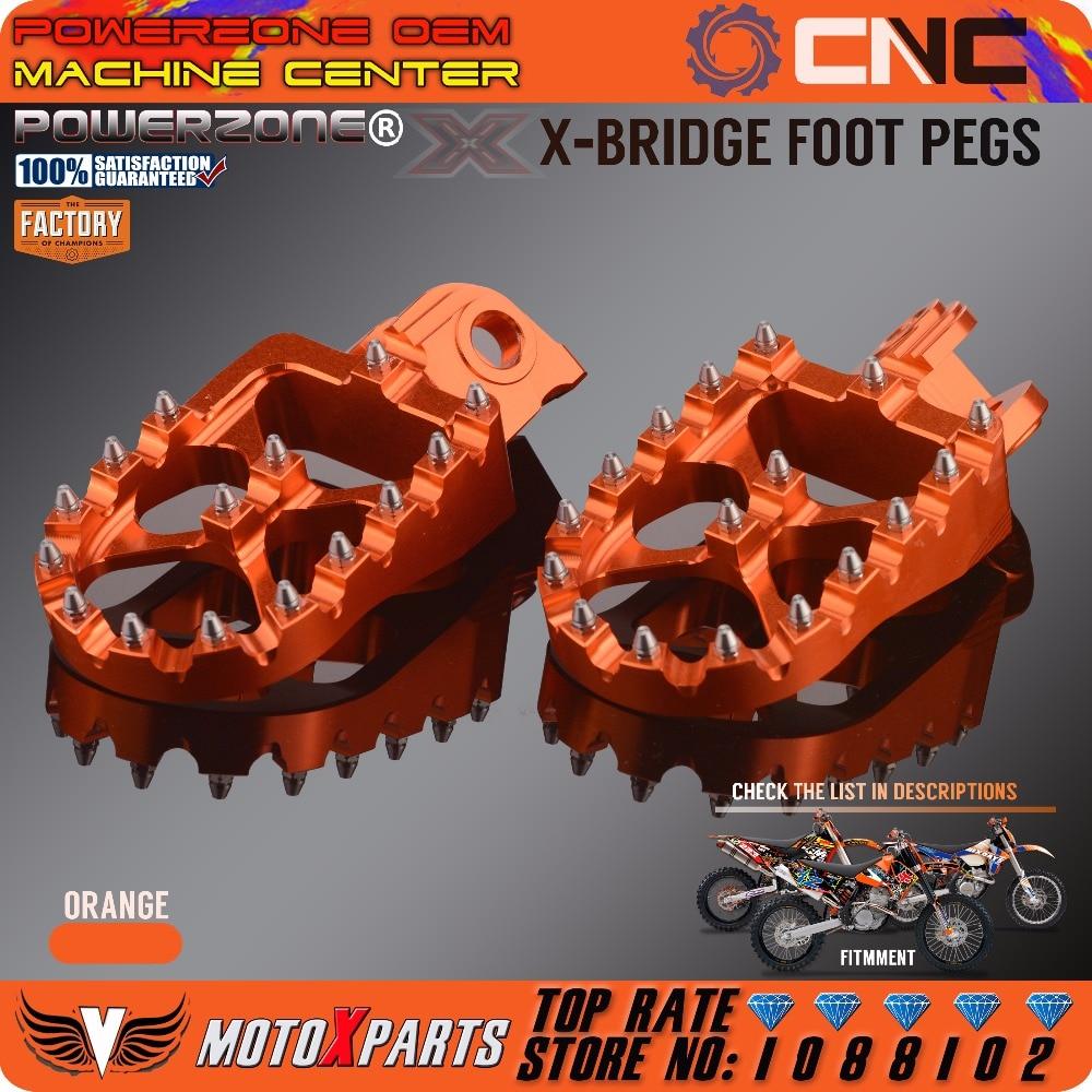 POWERZONE Billet CNC Pé Pegs Pedais Repousa Para KTM SX EXC SXF XC XCW EXCF EXCW XCFW MX SEIS DIAS 65 85 125 250-530 MX Enduro