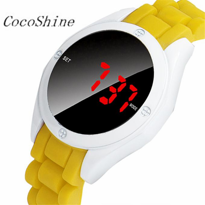 CocoShine A 733 Fashion Waterproof Mens Round LED Watch Touch Screen Date Silicone Wrist Watch wholesale