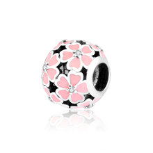 Original 100% 925 Sterling Silver Beads Pink Enamel Rose Flower Charm Fits Pandora Charms Bracelet DIY Jewelry Factory Price(China)