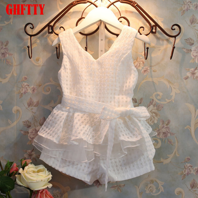 girls dress retail new 2017 girls clothes summer fashion children's vests set suit 2~7 years old children clothing for girl hello bobo girls dress collection of sports in the new year is suitable for 2 to 6 years old children s clothing