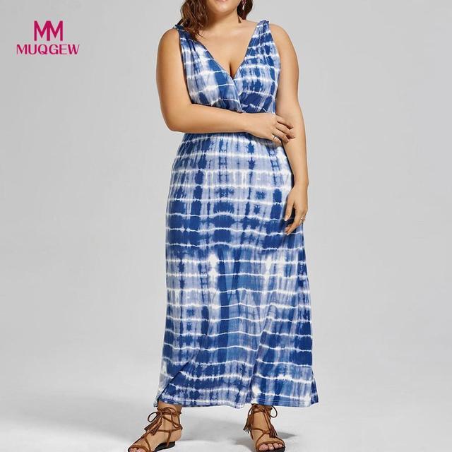 2018 women s dresses Fashion summer Casual V-Neck Sleeveless Print Plus  Size Beach Vest Long dd7635d6b7fb