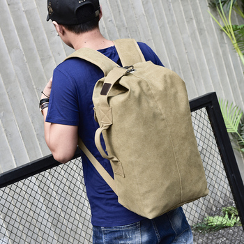 New Large Capacity Backpack Male Luggage Boys Canvas Backpack Bucket Shoulder Bags Leisure Men Backpacks for Travel for School 2
