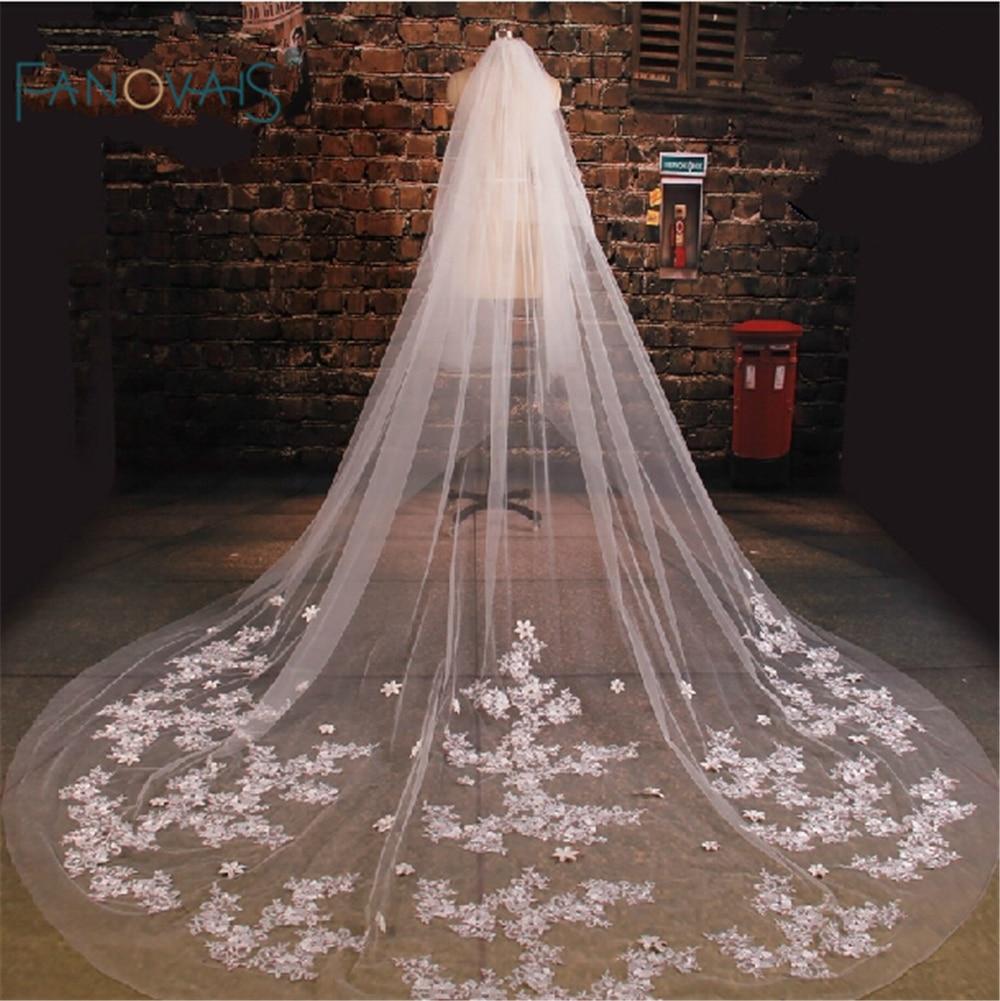High quality Appliqued One-Layers Bridal Veils Three Meters long Velos De Novia White Wedding Veil 2015 WV-1003