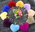 Мех Пом Пом Пушистый Натуральный Мех Брелок Сердце Женщины Автомобиль Брелок Для Ключей Key Holder Школа Сумка Подвески Плюшевые кулон